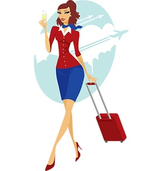 Young woman going to travel vector