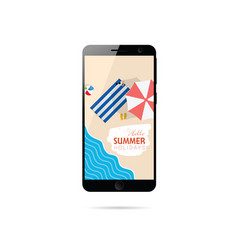 Mobile phone with summer holiday on it vector