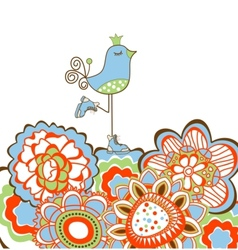 Flowers and bird decoration vector
