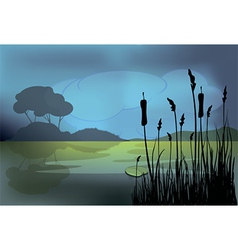 A night landscape vector