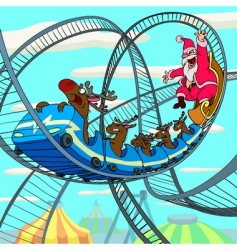 Santa claus on roller coaster vector