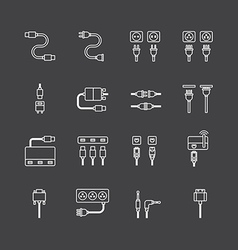 linear web icons set - cable wire computer vector image
