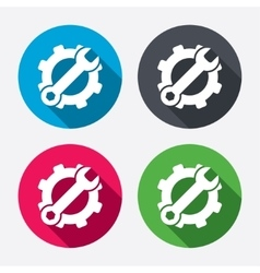 Service icon wrench key with gear sign vector