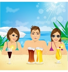 man and two woman enjoying beach holiday vector image