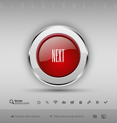 Design elements red and gray glossy button with vector
