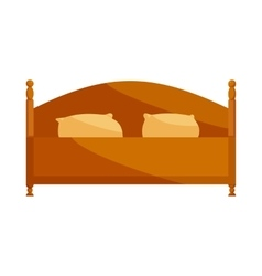 Wood double bed icon cartoon style vector