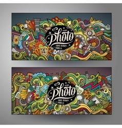 Banners templates set with doodles photo theme vector