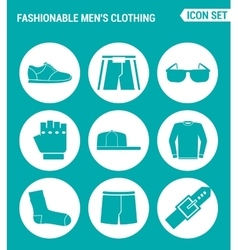 Set of round icons white fashionable men s vector
