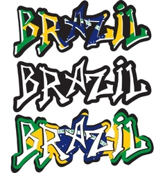 Brazil word graffiti different style vector