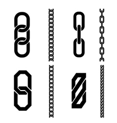 Chain parts icons and patterns vector