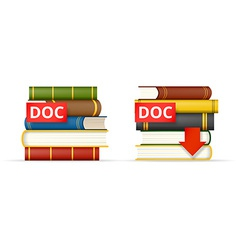 Doc format books stacks icons vector
