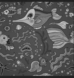 fish pattern fish on gray background vector image