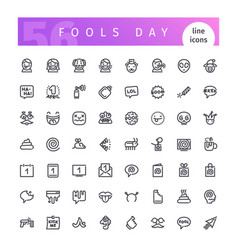 fools day line icons set vector image vector image
