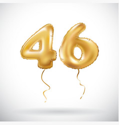 Golden number 46 forty six metallic balloon party vector