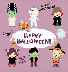 Halloween costumed children design set vector