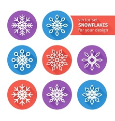 icons set of snowflakes flat design 3 vector image vector image
