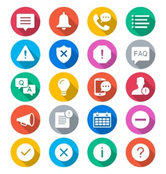 Information and notification flat color icons vector image vector image