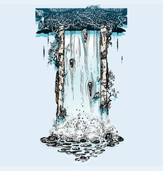 old ruins waterfall vector image