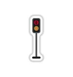 Pedestrian traffic lights sticker vector