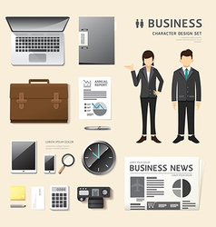 People set business job character icons flat style vector