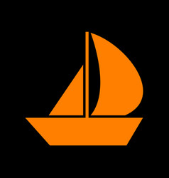 Sail boat sign orange icon on black background vector