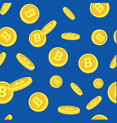 seamless pattern with bitcoins falling down on vector image vector image
