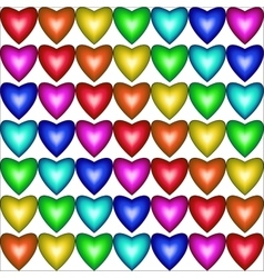 Seamless pattern with hearts in rainbow colors vector image