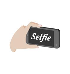Taking selfie photo on smartphone symbol flat vector
