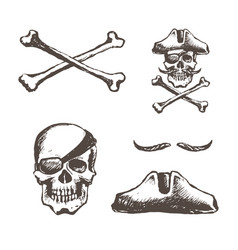 The skull of a pirate is one-eyed vector