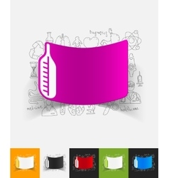 thermometer paper sticker with hand drawn elements vector image