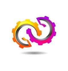 Vibrant abstract mechanism logo icon vector