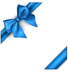 White holiday background with blue bow vector
