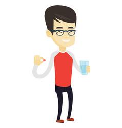 Young asian man taking pills vector