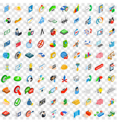 100 idea icons set isometric 3d style vector