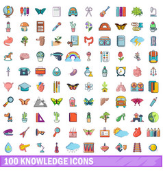 100 knowledge icons set cartoon style vector