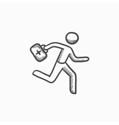 Paramedic running with first aid kit sketch icon vector