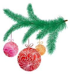 With fir branch and tree toys vector