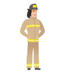 Young caucasian firefighter laughing vector