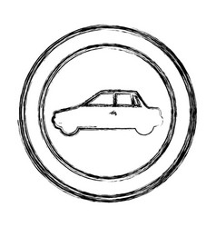 monochrome sketch of circular frame with vector image