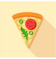 vegetarian pizza tomatoes and basil icon vector image