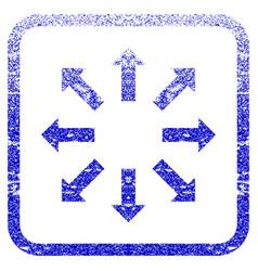 Explode arrows framed textured icon vector