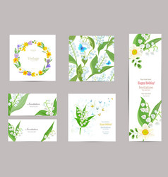 Collection of greeting cards with blossom vector