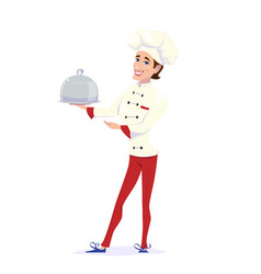 Cook chef carrying dinner vector