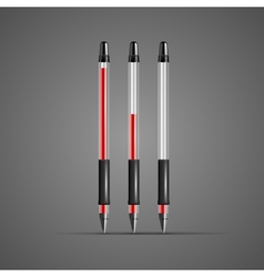Set of transparent red gel pens vector