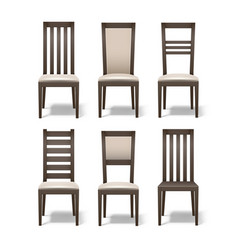 Set of wooden chairs vector