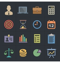 Business flat metro style icons vector