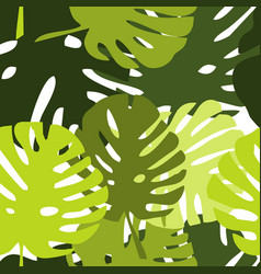 Tile tropical pattern with green exotic leaves vector