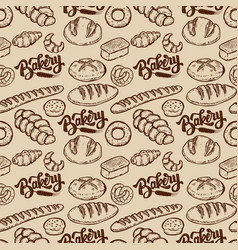 Bakery seamless pattern with bread bun bagel vector