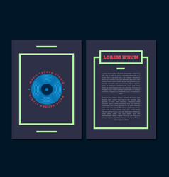 card flyer with retro sound record studio vector image