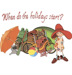 Set of things for holiday and the girl postcard vector image